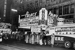 Cinerama, a process for showing motion pictures, debuted at the Palace Theater in 1956 and lasted until 1959.