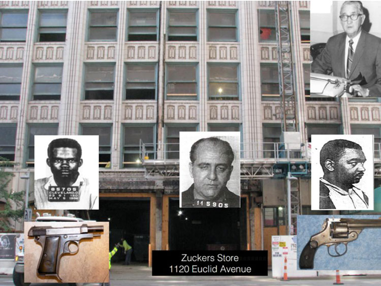 Building on Euclid Avenue where Det. McFadden stopped three suspects and frisked them.  The order of the suspects, from left to right, is Terry, Katz, and Chilton. Guns were found on Terry and Chilton but not Katz.