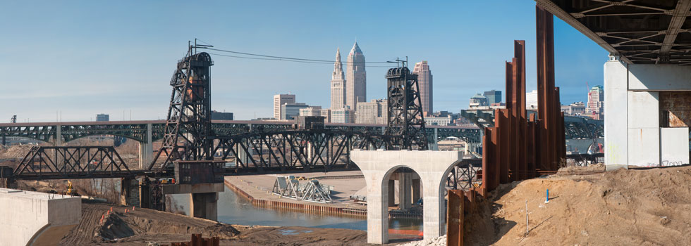 Cleveland's Innerbelt Bridge Construction - Photo Bob Perkoski