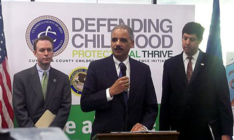 Cuyahoga County Executive Ed FitzGerald, U.S. Attorney General Eric Holder, and U.S. Attorney Steve Dettelbach - Copyright � 2012 by Clear Channel, all rights reserved