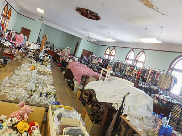 Climb Zion�s future yoga studio currently houses the church�s monthly rummage sale