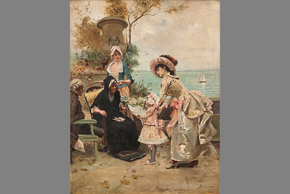 Emile Auguste Pinchart  - A Family Gathering by the Sea Shore, Oil on Canvas