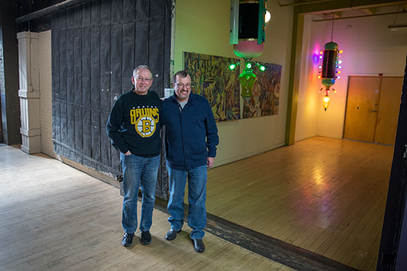 John Gorman and Jim Marchyshyn standing at the location of the future oWOW studio at 78th Street Studios