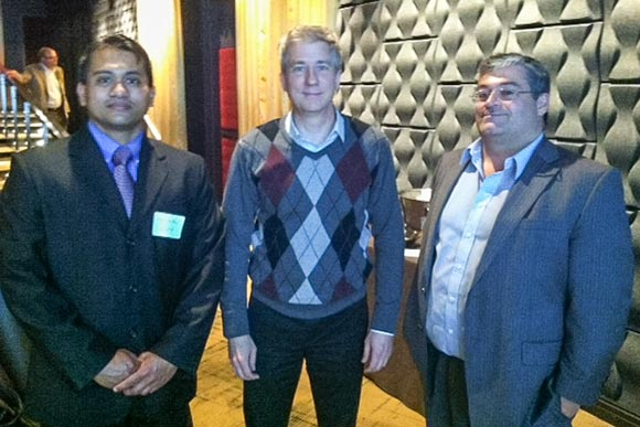David Crain, Executive Director of The Incubator at MAGNET and ProtoTech founder (middle) poses with Full Circle Technologies CEO Hari Chandra (left, with guest on right)