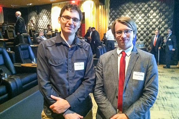 Eugene Malinskiy (left), CEO of Infinite Arthoscopy, poses with his company partner Daniel Dudley