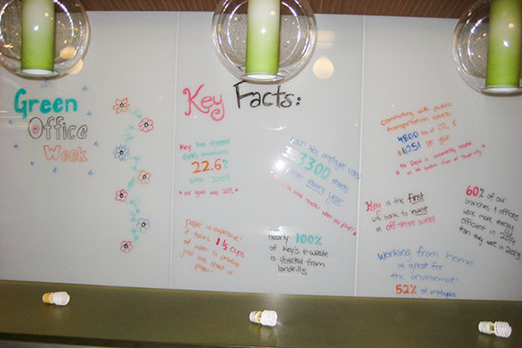 KeyBank employees post sustainability facts about KeyCorp on a message board