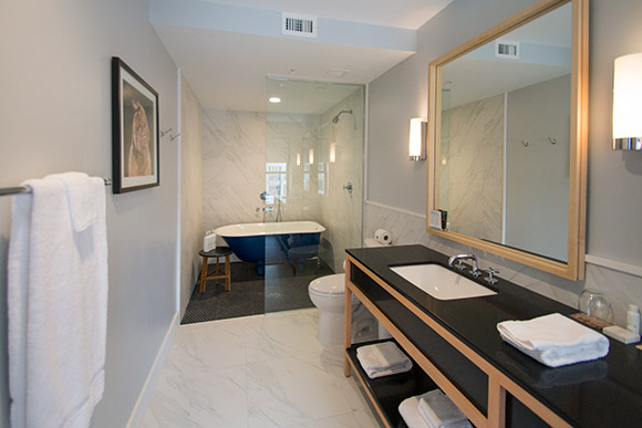 The bathroom in one of the suites in the hotel