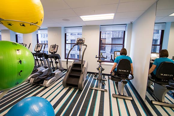The workout room in the hotel