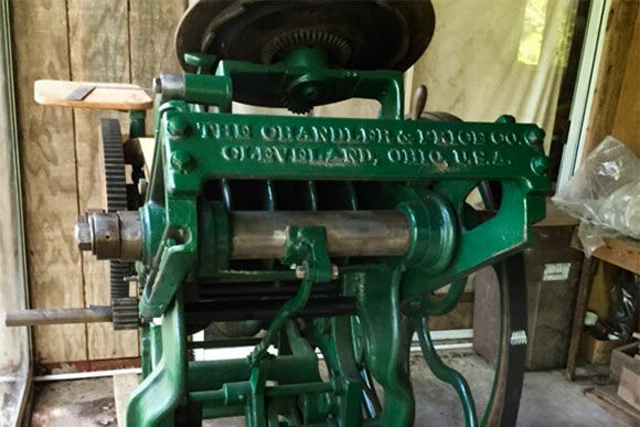 Artful acquired a Chandler & Price letterpress, hand-forged by the Cleveland company in 1899