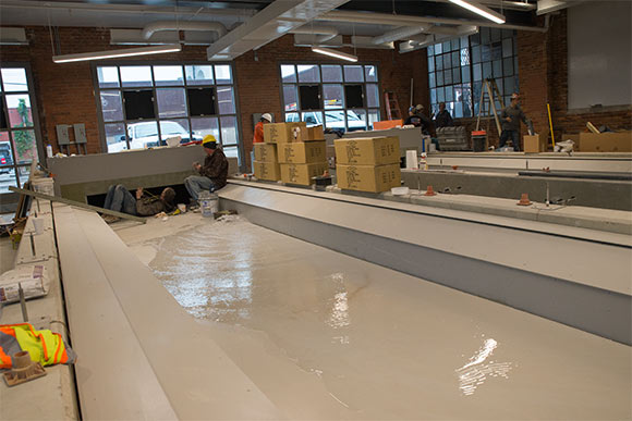 State-of-the-art indoor rowing tanks being filled