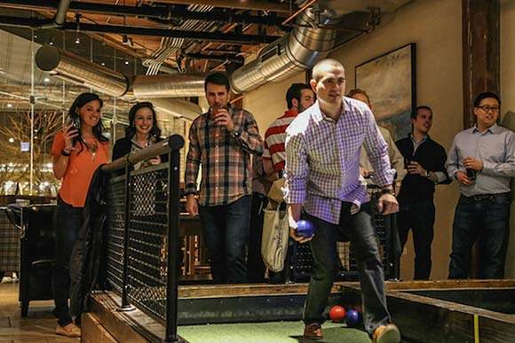 Bocce play at Pinstripes