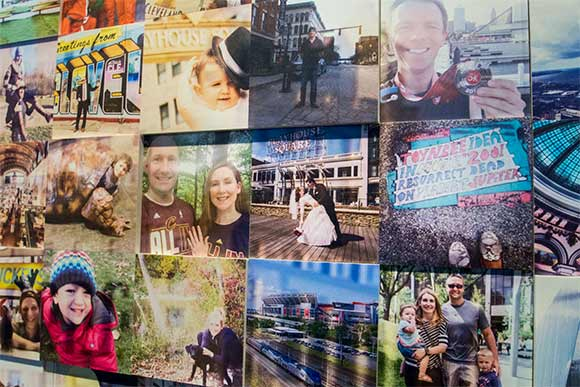 Mural of tthe Cleveland skyline comprised of 2,800 selfies submitted in the #MyClePhoto contest