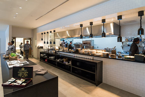 The Burnham has an open kitchen so diners can watch the chefs in action