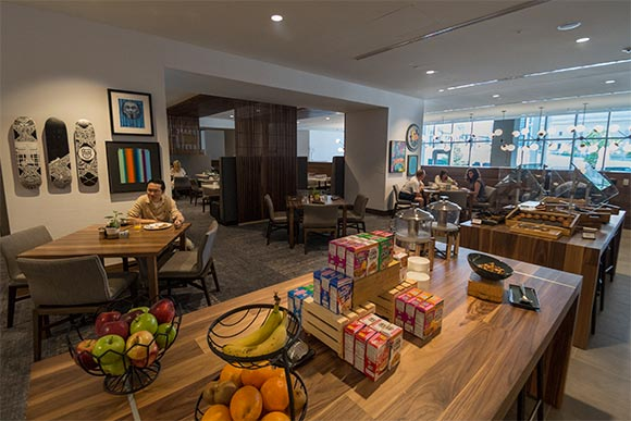 The Noshery offers snacks, coffee and gifts in the 24-hour lobby stop
