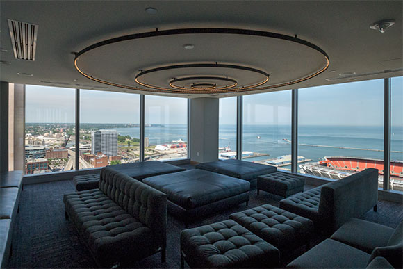 The lounge area of Bar 32, highlighting sweeping views of Lake Erie and the city