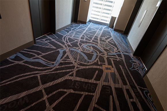 Carpeting in the elevator lobbies on each floor depict maps of downtown Cleveland streets