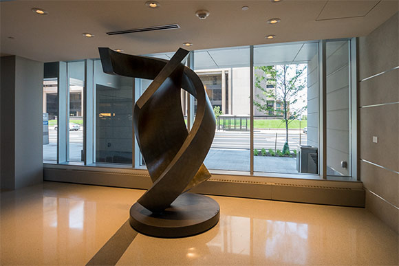 A metal sculpture by Jerry Schmidt in the Hilton Lobby