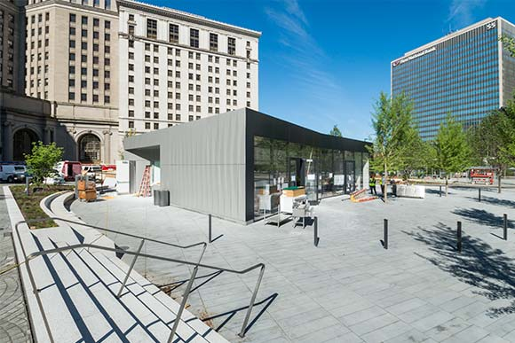 The civic plaza, or the Cleveland FoundationCentennial Plaza, has a caf� that will serve beer and wine