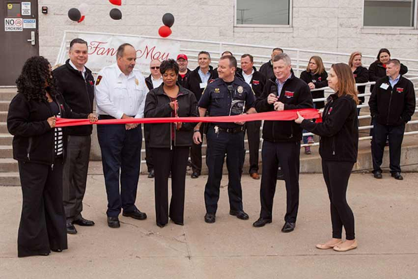 Ribbon cuttting for the rebuilt Fannie May warehouse and distribution center in Maple Hts.