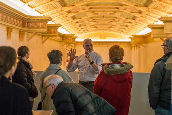 Tom Einhouse led members of the Cleveland Restoration Society on a tour of the Ohio Theater lobby