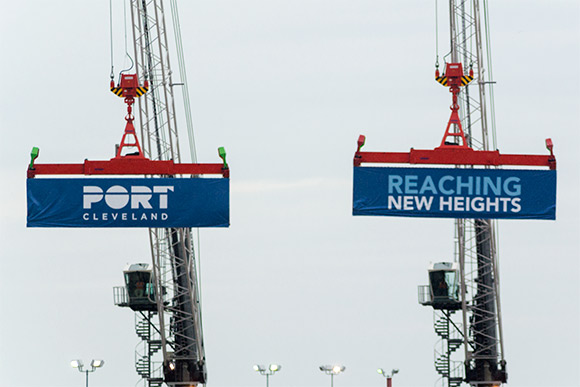 The new Liebherr cranes dedication ceremony at the Port of Cleveland