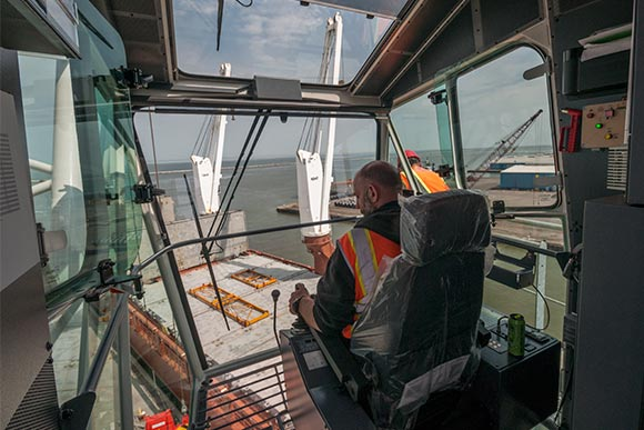 Inside at the controls of the the new Liebherr crane