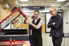 Adam Savage of Mythbusters (right) with Ian Charnas, manager of think[box]