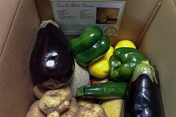 "A box of ""Perfectly Imperfect"" produce"