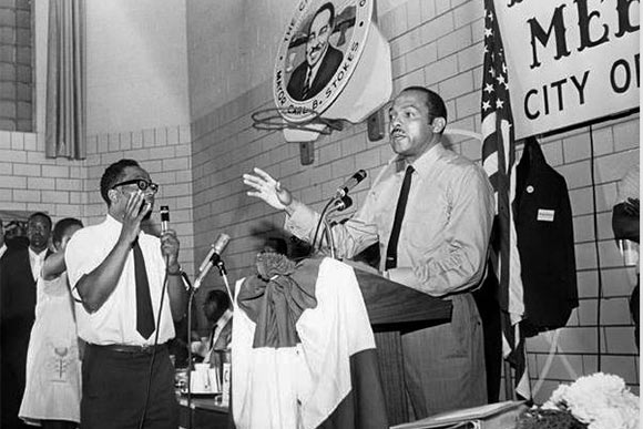 Dave Chillious and Carl Stokes at neighborhood meeting --1969