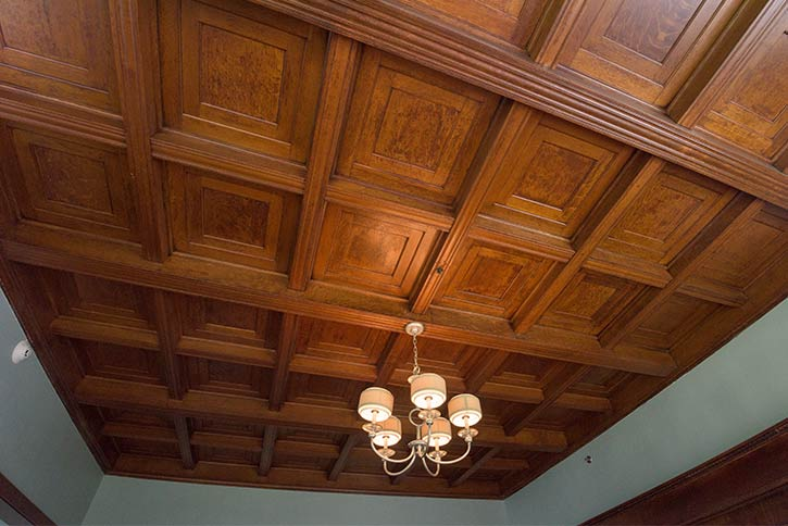 The first-floor living room ceiling