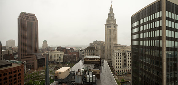 View overlooking Public Square and the Terminal Tower from the Standard Bldg.