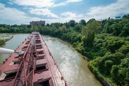 Irishtown Bend from the ore freighter American Courage