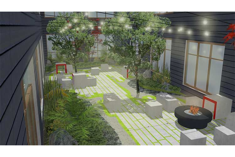 Mueller Lofts courtyard finished rendering