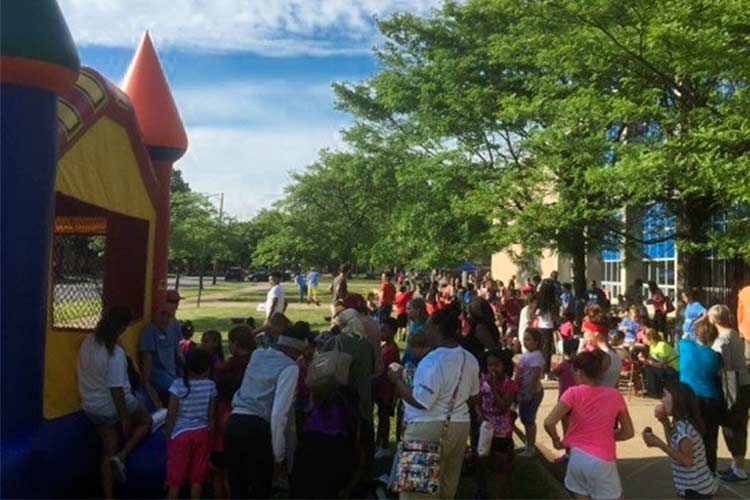 Block party at Estabrook where Gateway Church host free events for the community