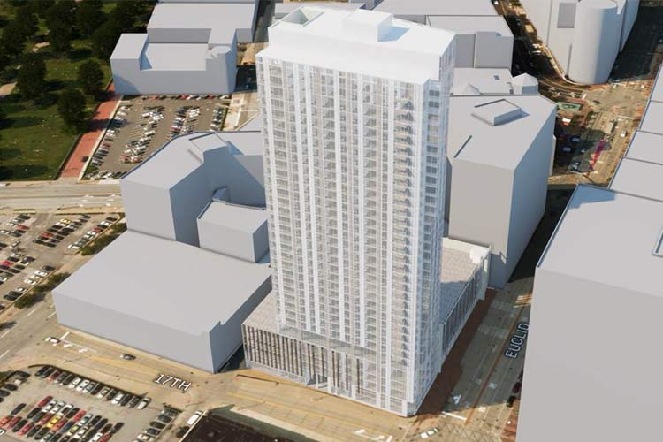 Rendering of The Lumen—the 34-story, 318-unit apartment building at the corner of Euclid and E. 17th St.
