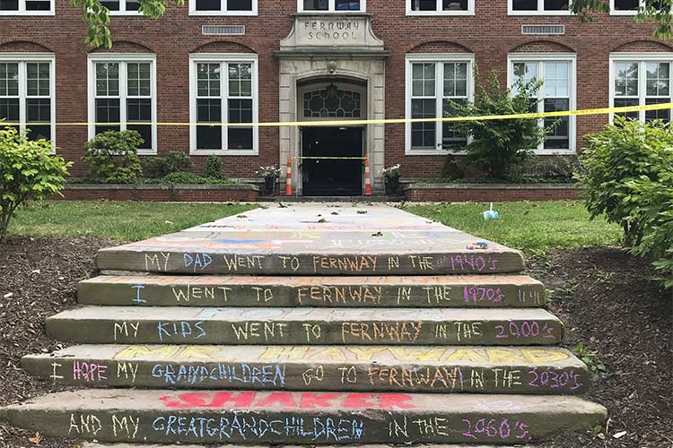 Chalk drawing on the steps by Peter Nagusky, Fernway and Shaker Heights School class of '88 after the fire