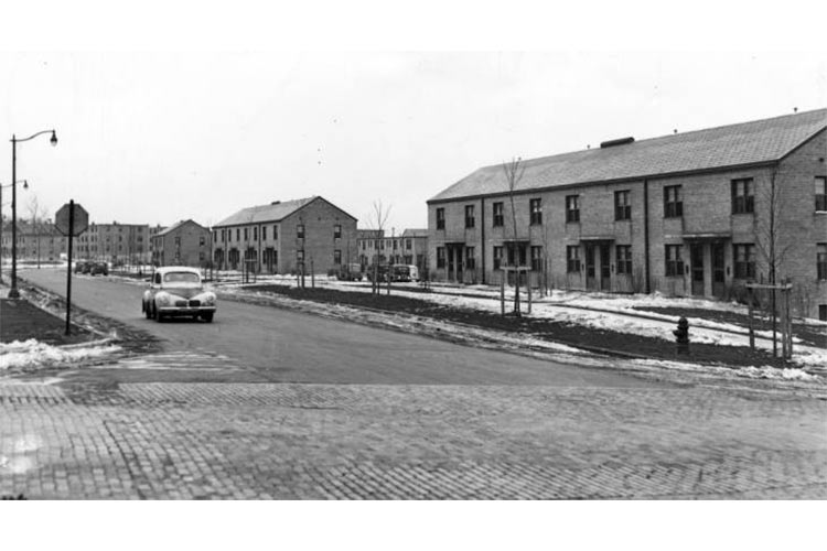 Early photograph of the Woodhill homes, public housing project