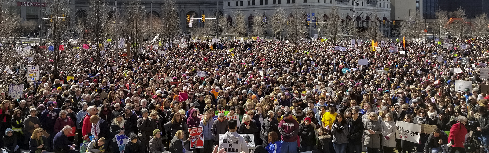 Shaker Heights High School junior Kevin LaMonica speaks at the Cleveland March For Our Lives <span class='image-credits'>Bob Perkoski</span>