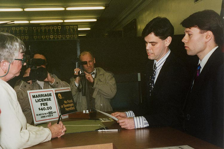 Filing marriage licenses on Feb 14th 1994 at the Cuyahoga County Courthouse.