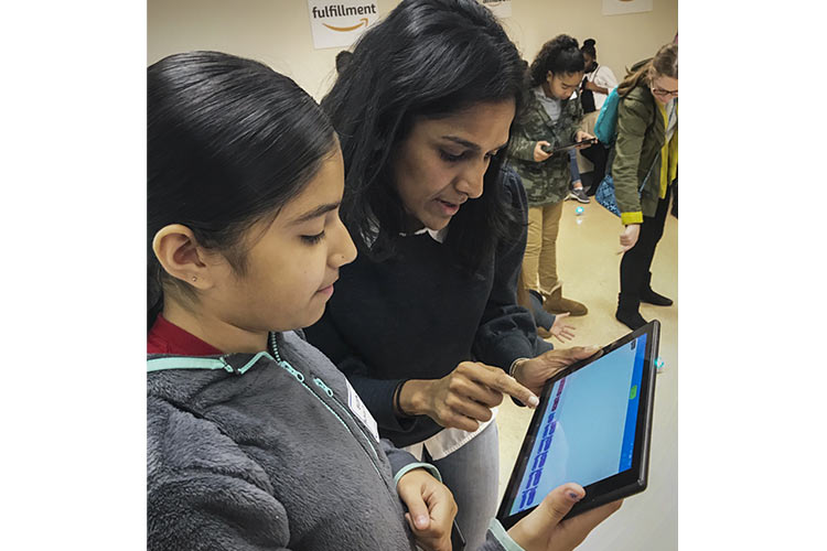 The Amazon team conducted the robots and coding program for 61 middle schoolers