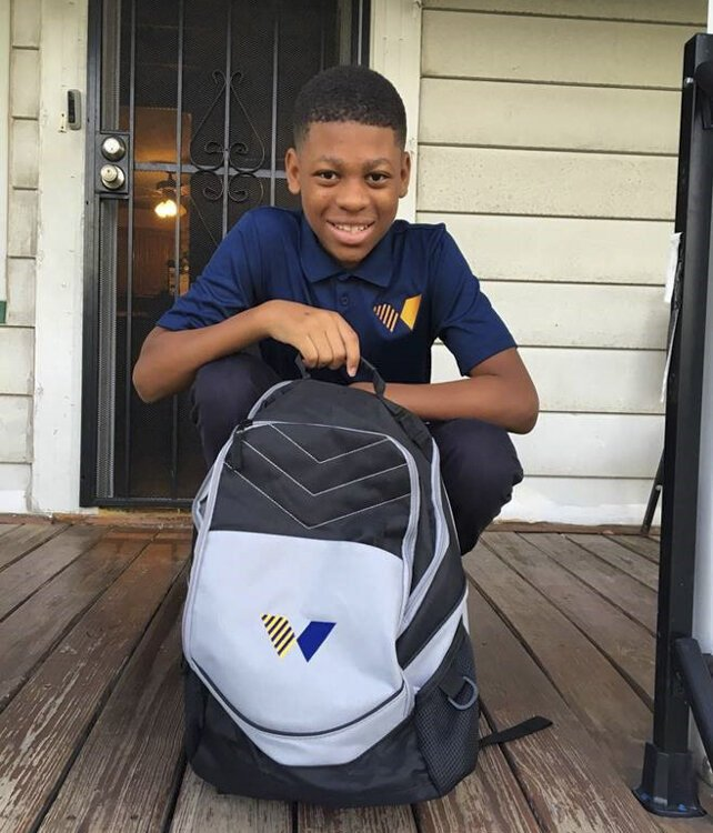 Khamarion Lampkin's first day of school at Welsh Academy
