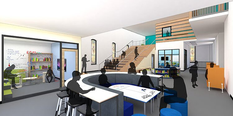Welsh Academy Learning Commons rendering