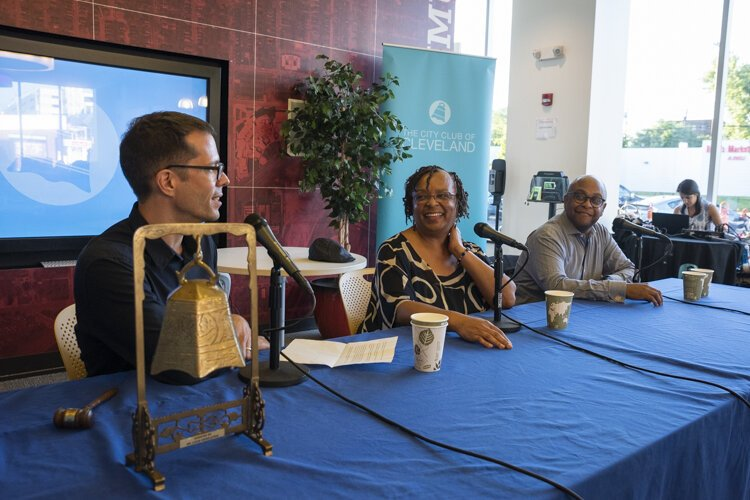Forum discussion at PNC Fairfax Connection with Justin Glanville of ideamstream, Denise VanLeer of Fairfax Renaissance Development Corporation and August Fluker of City Architecture