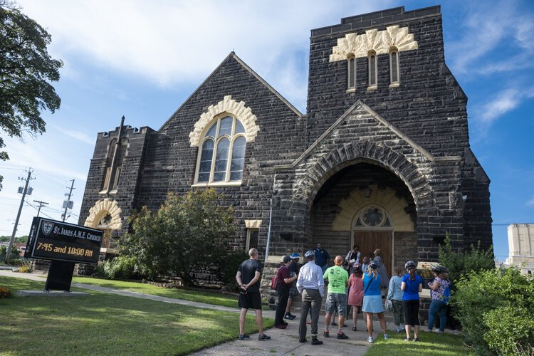 A stop at St. James A.M.E. Church on the Ride + Learn: The Future of Fairfax bike tour