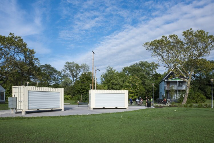 These cargo containers at Playwright Park will become stages for plays produced by Karamu House.