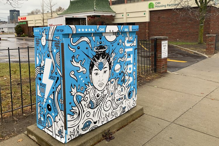 "The utility box wrap at Payne Avenue and East 30th Street, titled ""Sakuya-Hime"" by Jordan Wong (WONGFACE)."