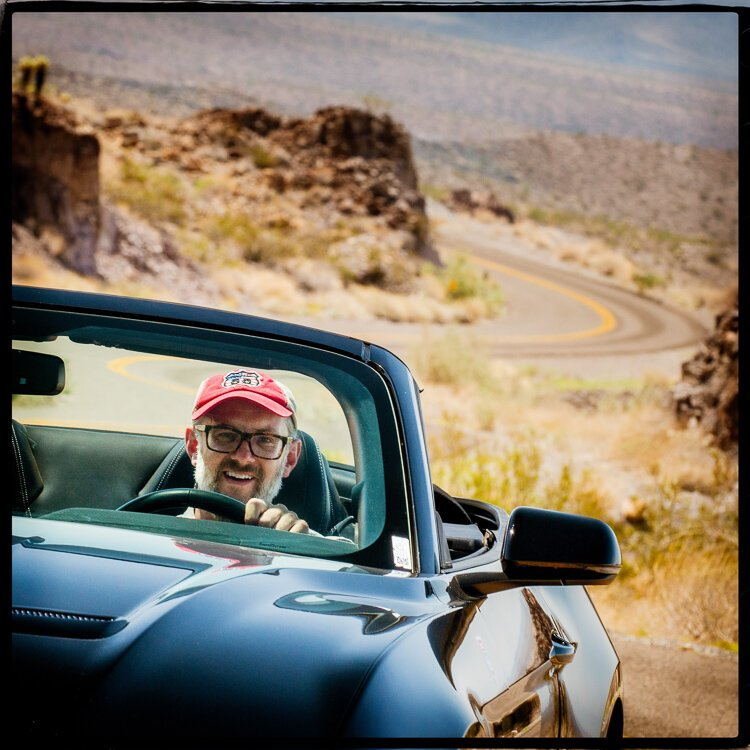 Photographer David J. Schwartz getting his kicks on Route 66.