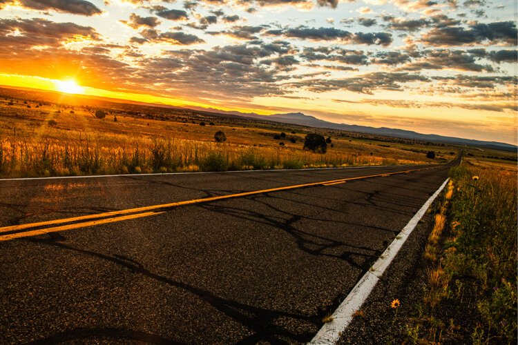 A quiet peacefulness of a sunrise on old Route 66.