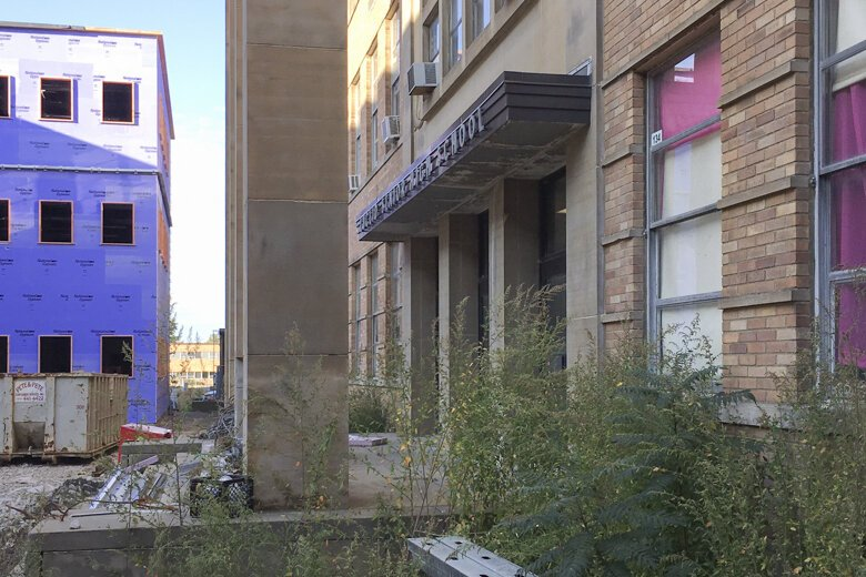 The former Euclid High School entrance will soon be a remnant of the past.