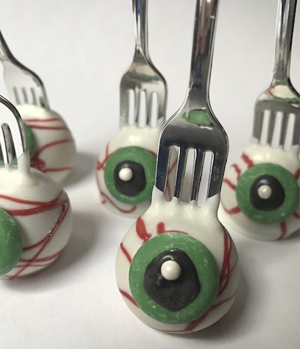 Eye Pops made for a zombie party on Halloween